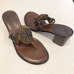 """Cole Haan Brown Thong Sandals 3"""" Block Heel"""